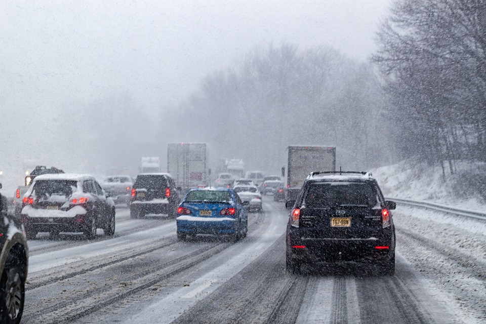 driving at snowstorm