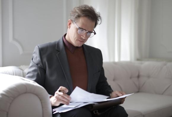 executive male reading