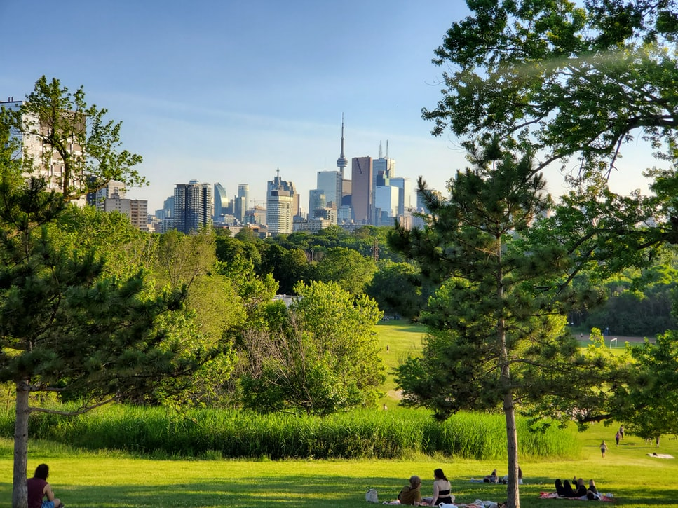 park with city of Toronto in background